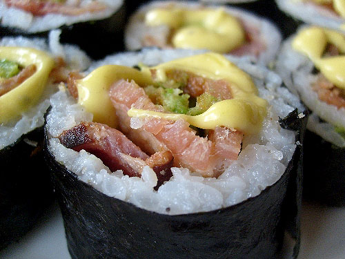 deep-fried-avocado-bacon-sushi-with-wasabi-bacon-mayonnaise