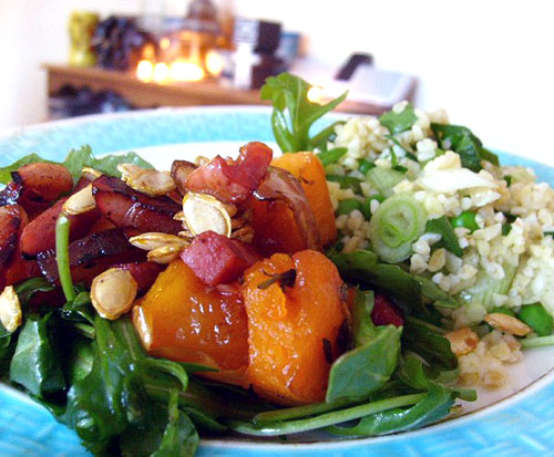 butternut squash with pancetta and blulgur salad