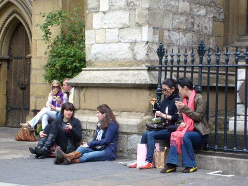 drinking outside the cathedral