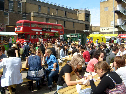 picnic tables at brick lane upmarket