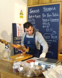really nice dude with the jamon samples at brindisa