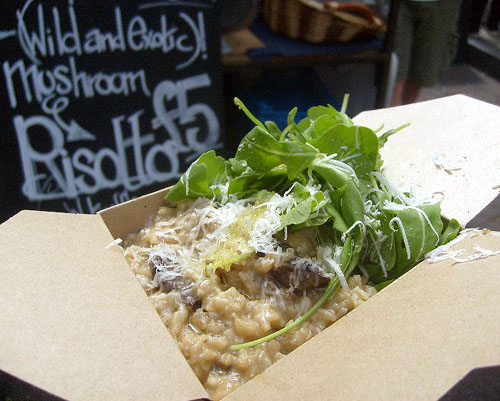 mushroom risotto from sporeboys at broadway market