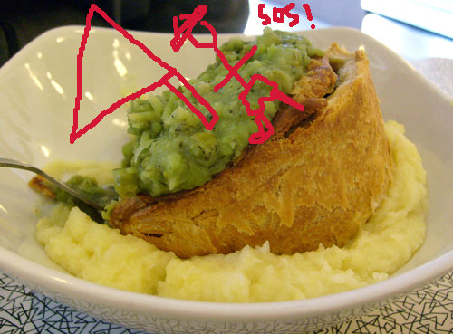 mushy pea pie boat on mash