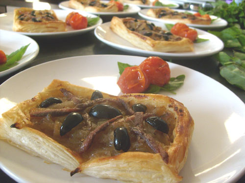 pissaladiere - onion anchovy and olive tart - small