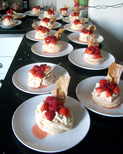 so many meringues with almond cream and summer fruit