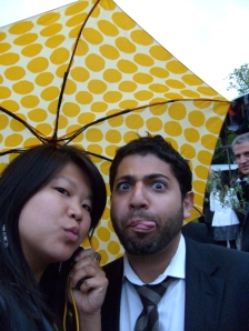 me and dan and the yellow brolly