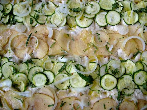 zucchini potato onion focaccia dough
