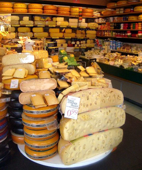 an insane array of cheese in the dutch cheese shop