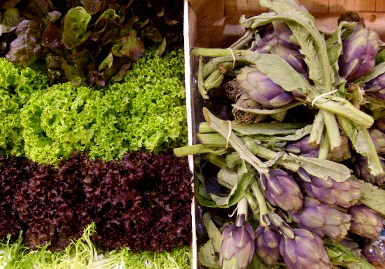assorted lettuce and purple artichokes