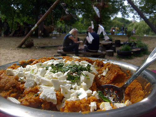 ... carrot and caraway dip topped with feta cheese, fresh mint, and a