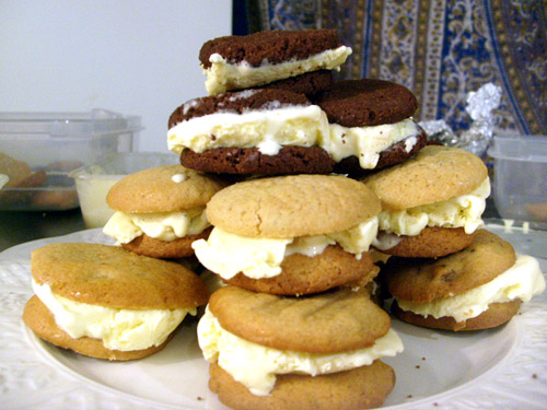 trio of homemade ice cream sandwiches