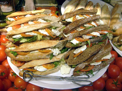 mozzarella tomato sandwiches at the hockey tournament