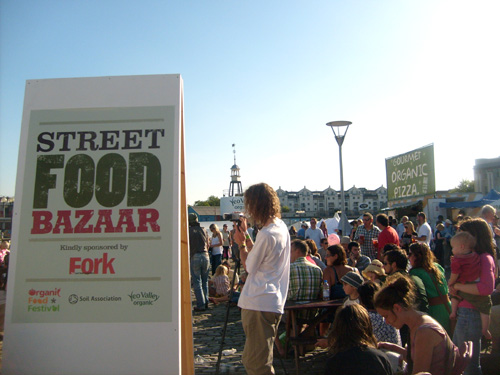 street food bazaar at the organic food festival