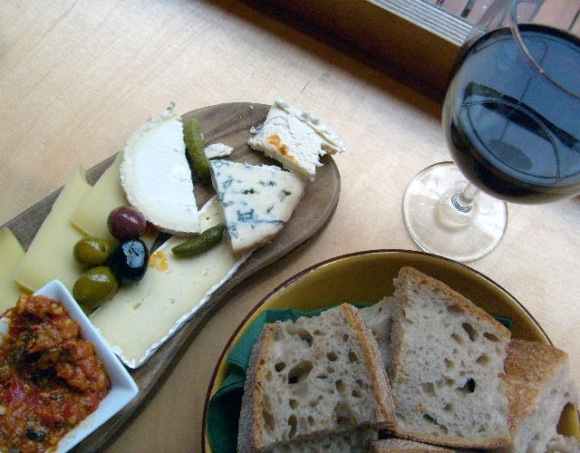 wine and cheese board in spitalfields market
